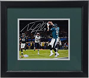 """Nick Foles Philadelphia Eagles Super Bowl LII Champions Framed Autographed 8"""" x 10"""" Philly Special Touchdown Catch Photograph - Autographed NFL Photos"""