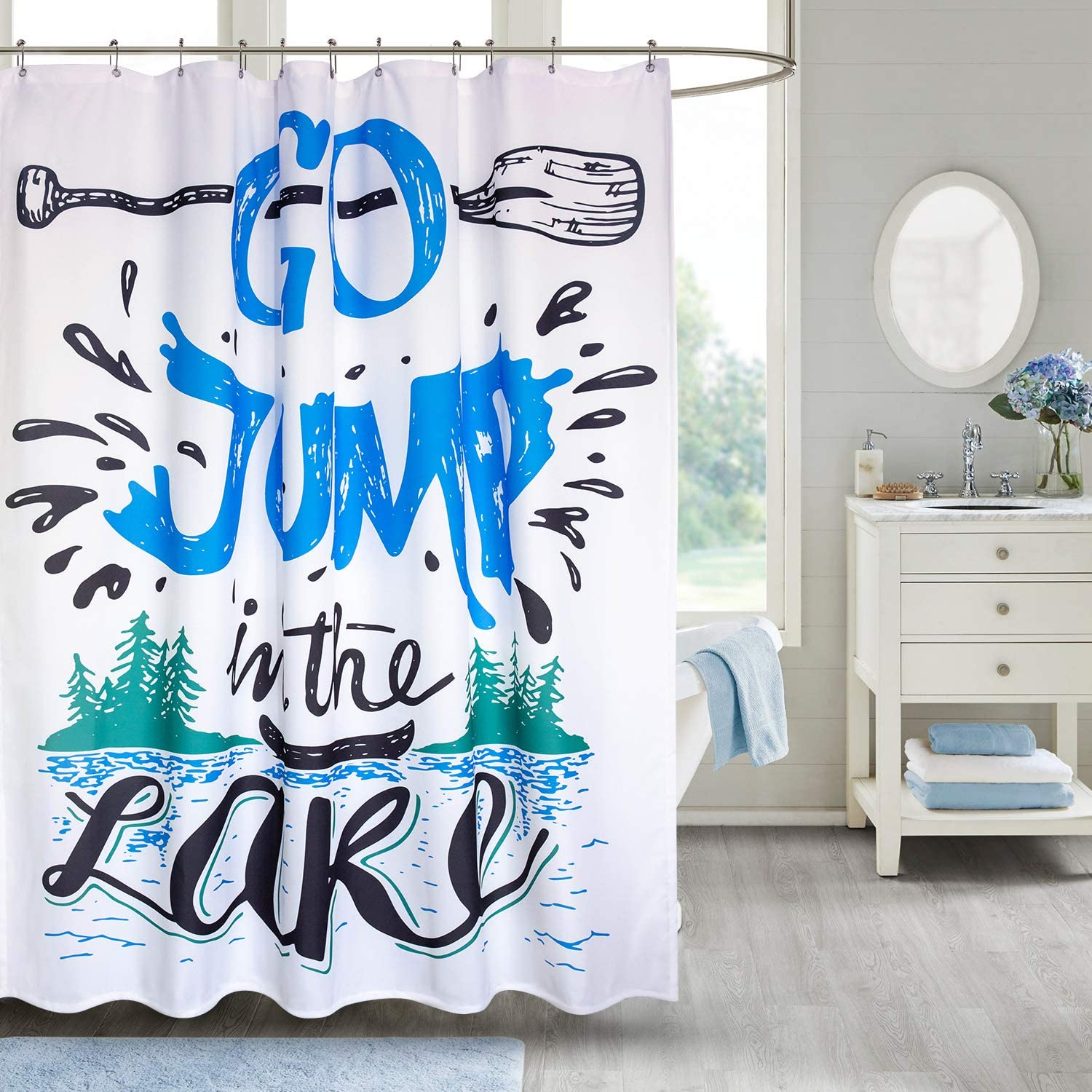 VVA Fabric Shower Curtain with Hooks for Bathroom Waterproof Machine Washable Breathable 72x72 inch Cabin Decor Vintage Typography Inspiration Quote Lake Sign Canoe Fishing Sports Theme Blue Black