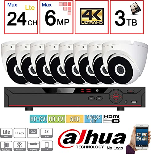 Dahua Penta-brid 1080P Security Package 16CH 1080P Penta-brid XVR5116 5 in 1 CVI TVI AHD IP and Analog w 3TB Security Hard Drive 8 2MP Outdoor IR HDW1200 2.8MM Eyeball NO LOGO OEM Local Support