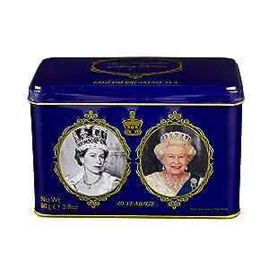 English Tea, 40 English Breakfast Tea Teabags in Queen Elizabeth II of Great Britain Tin