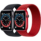 2 Pack Braided Solo Loop Sport Bands Compatible for Apple Watch Band 38mm 40mm 42mm 44mm soft Stretchy wristband Women Men El