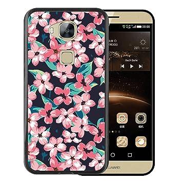 WoowCase Funda Huawei GX8 / G8, [Huawei GX8 / G8 ] Funda Silicona Gel Flexible Flores Vintage, Carcasa Case TPU Silicona - Negro