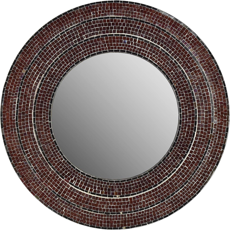 Fetco Sahlu Burgundy Mosaic Mirror, Red