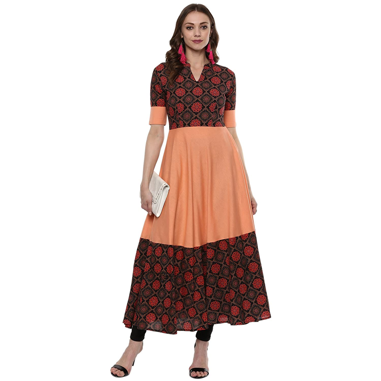 Indian Virasat Kurtis Ethnic Women Kurta Kurti Tunic Multicolouredl Print Top Dress New Casual Wear