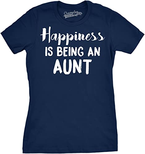 Crazy Dog Tshirts Womens Happiness is Being An Aunt Funny Family Relationship T Shirt - Divertente D...