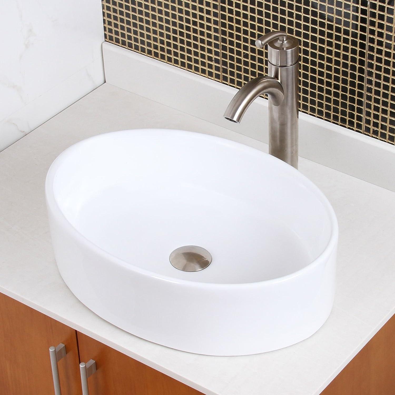 Elite Bathroom Long Oval White Ceramic Porcelain Vessel Sink Brushed Nickel Faucet Hot Sale