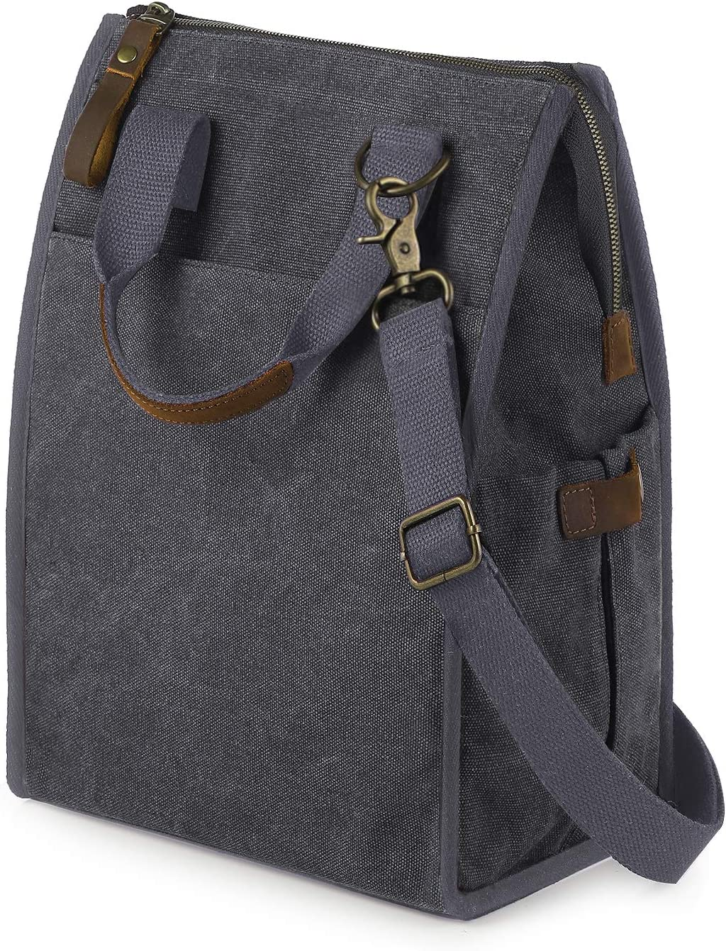 SMRITI Lunch Bag Canvas Lunch Container for Men Women Kids Insulated Stasher Bag Leakproof Cooler for Work Office School Picnic Zipper Closure Crazy Horse Leather Handle Adjustable Strap(Light Grey2)