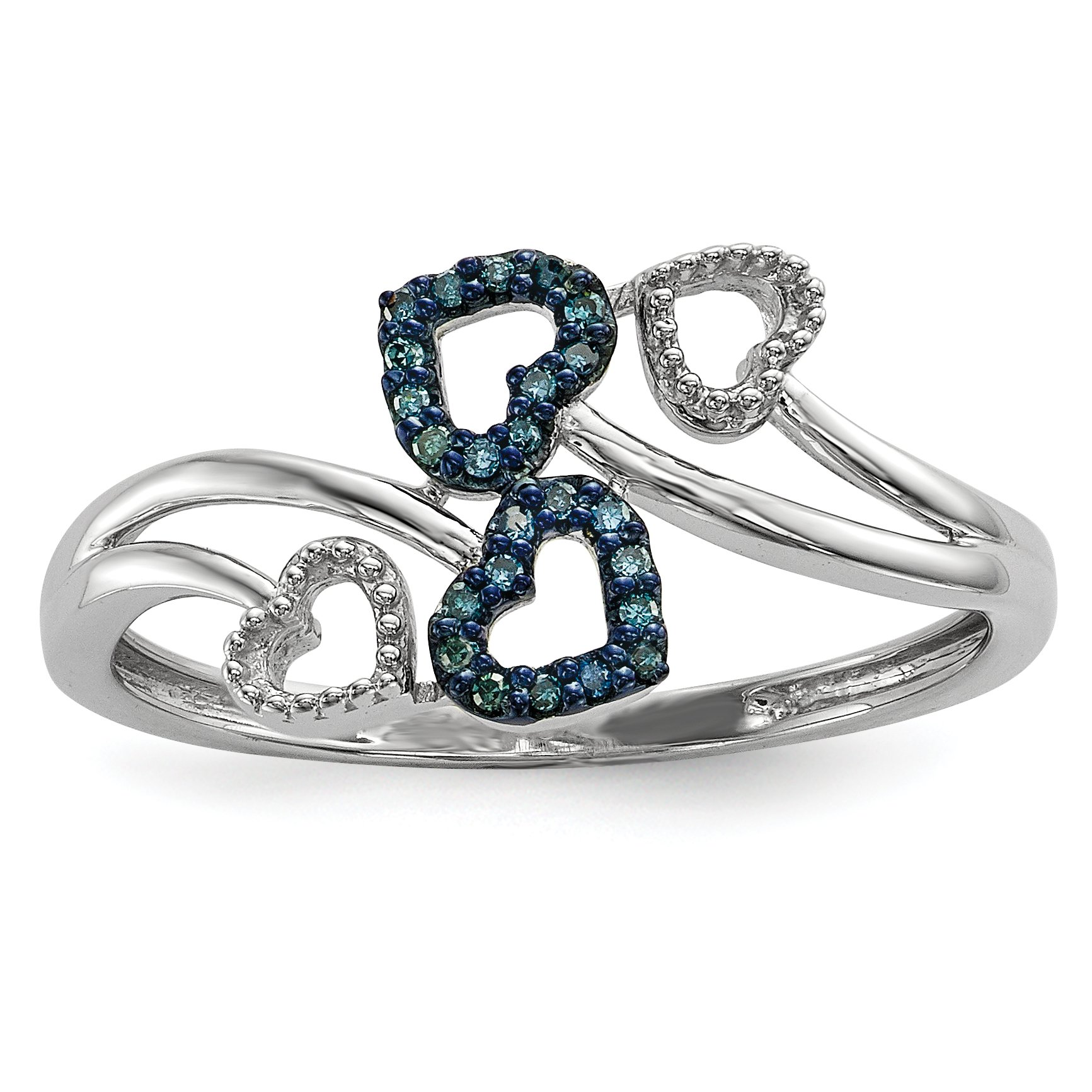 ICE CARATS 925 Sterling Silver Blue Diamond Multi Heart Band Ring Size 7.00 S/love Fine Jewelry Gift For Women Heart