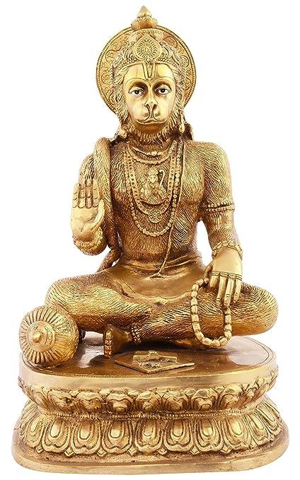 Amazon Com Kapasi Handicrafts Emporium Brass Lord Hanuman Sitting
