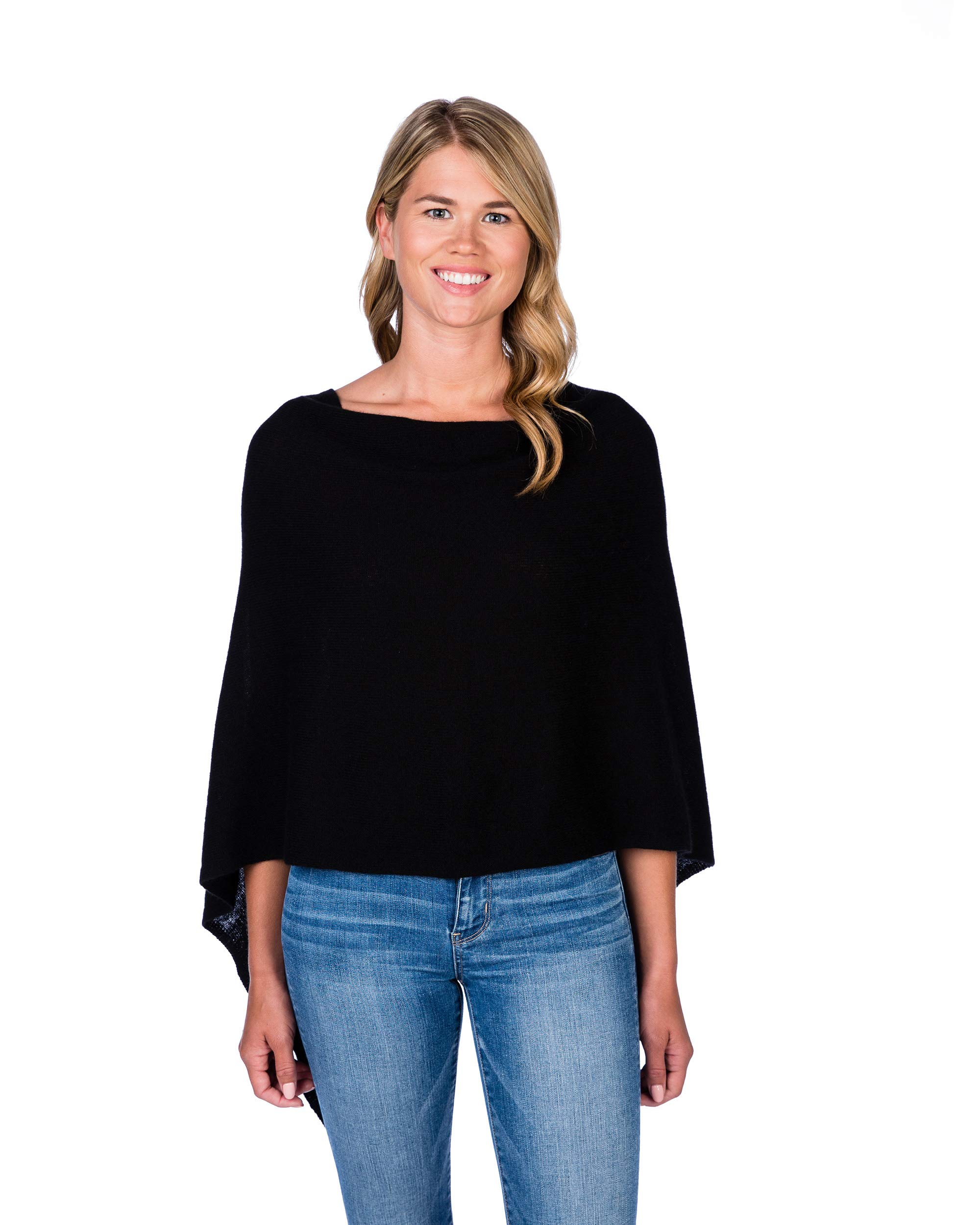 Claudia Nichole by Alashan 100% Cashmere Dress Topper Poncho - Black