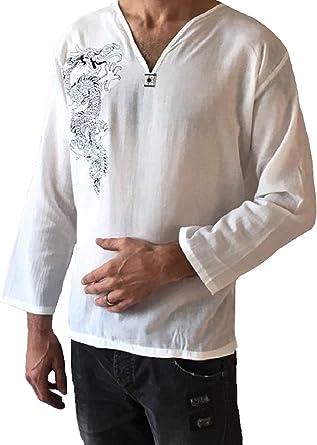 Playera de dragón Blanco para Hombre 100% algodón Hippie - Blanco - Small: Amazon.es: Ropa y accesorios