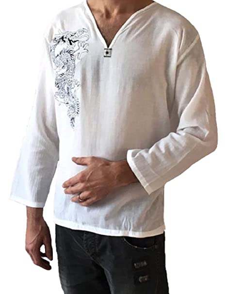 e02c8c461f1d Love Quality Amor Calidad Hombres Dragón Blanco Camisa para Hombre ...