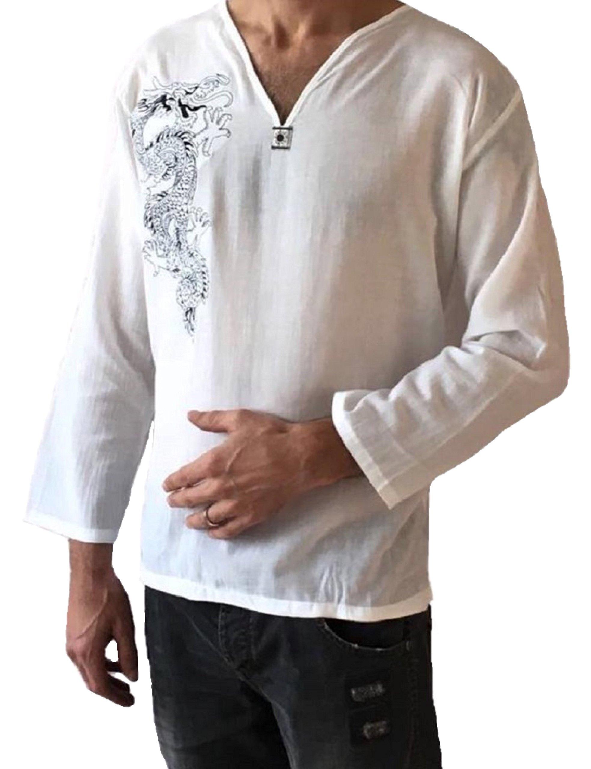 Men's Light Weight 100% Cotton Dragon Shirt (XXL)