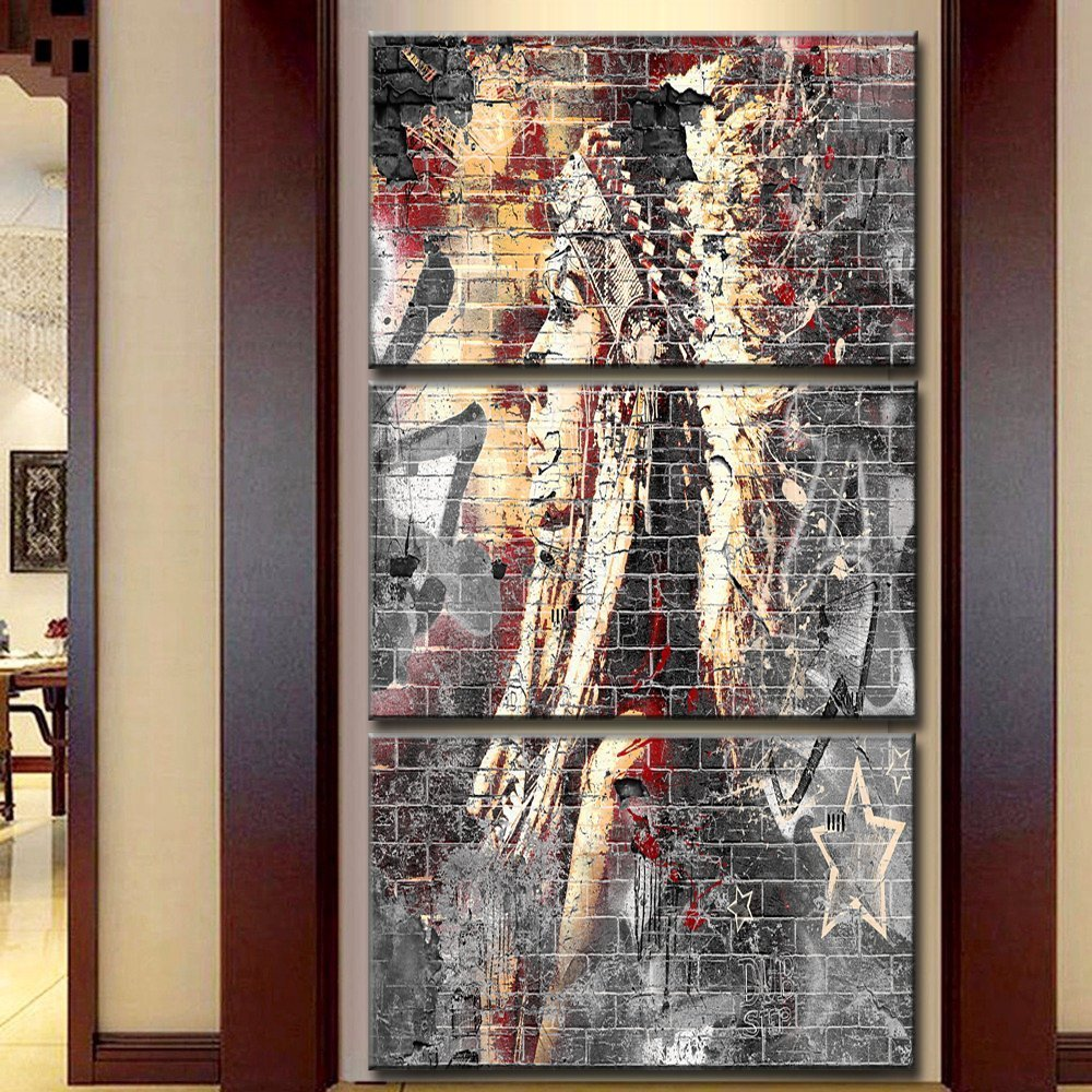 Canvas Print Indian Native American Painting for Living Room Modern Home Decor Wall Art Artworks Picture 3 Panel Prints and Posters Framed Stretched Ready to Hang, 24x32 Inch/3pcs