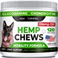 STRELLALAB Hemp Treats + Glucosamine for Dogs - Hip & Joint Supplement - w/Hemp Oil + Protein - Chondroitin, MSM, Turmeric to Improve Mobility & Energy - Natural Joint Pain Relief, 120 Chews