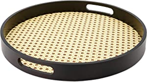 MitaliMart Rattan Tray with Handle - Round Decorative Woven Tray ideal for Food and Storage, Coffee Table - Round Basket Tray with Gorgeous Black Rustic Wooden Frame 12.9