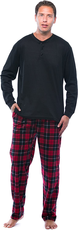 #followme Pajama Set for Men with Thermal Henley Top and Polar Fleece Pants
