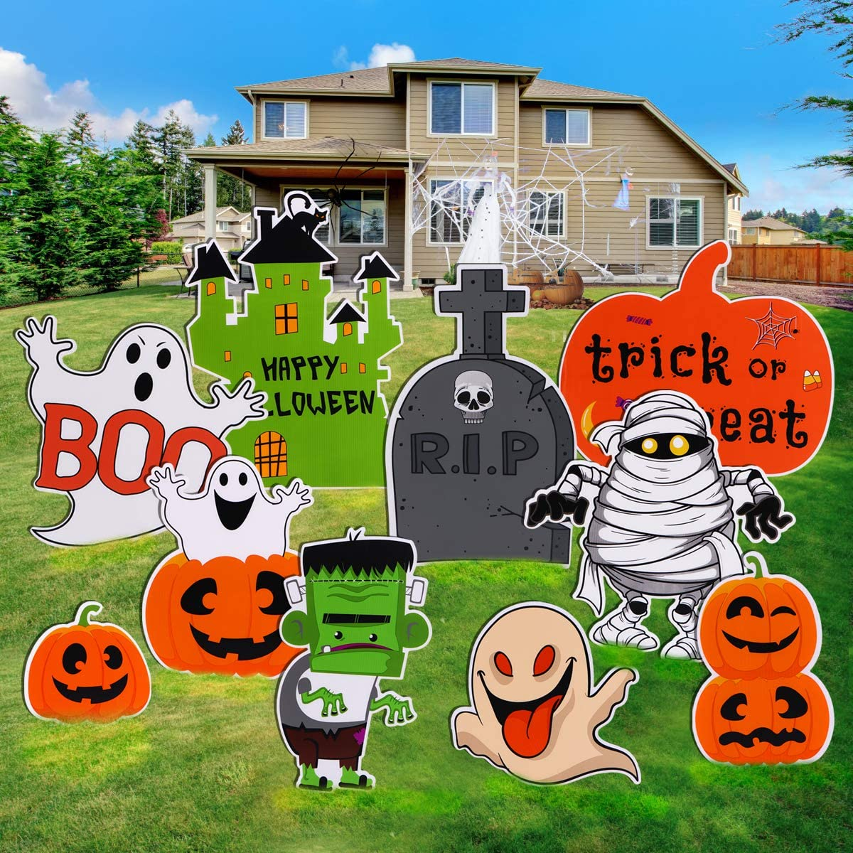 Aobuy 10pcs Halloween Decorations Outdoor-Extra Large Cute Pumpkin Ghost Decoration,Ghost Corrugate Yard Stake Signs and Trick or Treat Party Plastic Décor