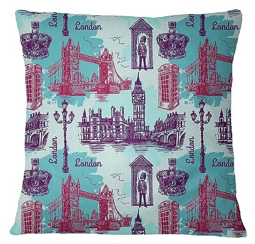 S4Sassy azul cubierta de almohadas Londres tema ...
