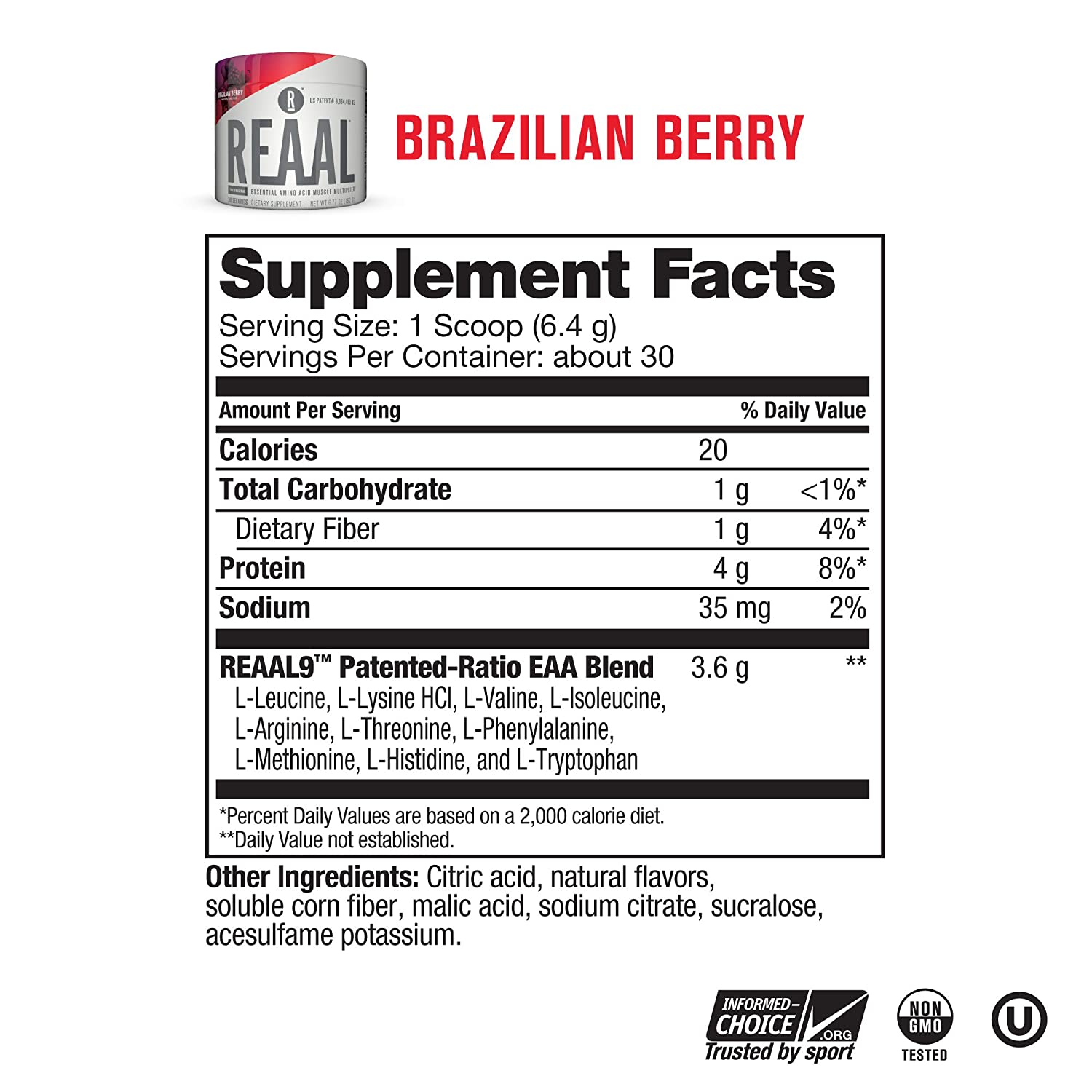 REAAL – REAAL Brazilian Berry Powder, Helps Build, Restore, and Maintain Lean Muscle with Essential Amino Acids, Gluten Free, Bloat Free, Lactose Free, Caffeine Free, Vegan, 30 Servings 6.77 Oz