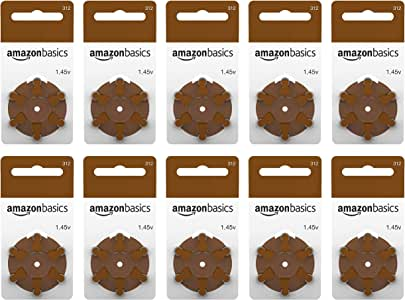AmazonBasics 1.45 Volt Hearing Aid Batteries - Pack of 60, Size 312