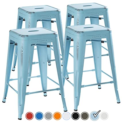 Incredible Urbanmod 24 Inch Bar Stools For Kitchen Counter Height Indoor Outdoor Metal Set Of 4 Powder Blue Distressed Short Links Chair Design For Home Short Linksinfo