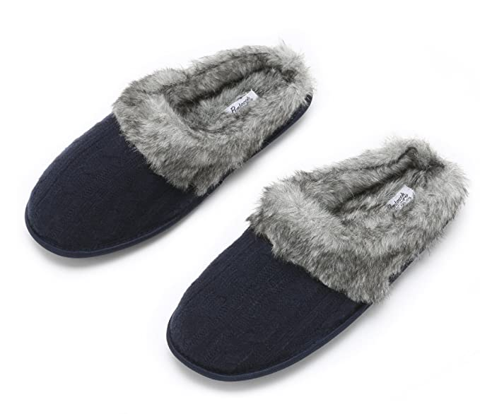 f6598721c3badd Pembrook Ladies Faux Fur + Cable Knit Slippers – Navy, Small - Comfortable  Memory Foam
