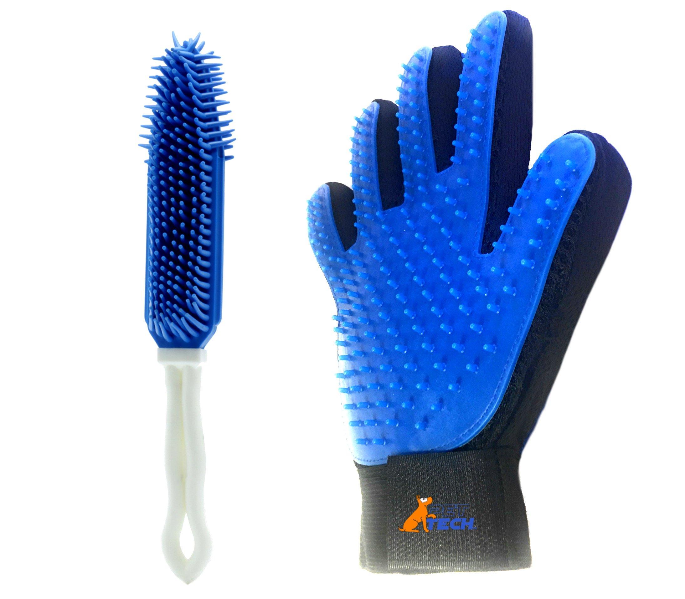 Pet Hair Remover DeShedding Glove for Cats - Dog Grooming Kit - Shedding Hand Mitt - Dog Washing Mitt - Lint Fur Furniture Tool - Long Medium Coat - Animal Hair Remover Brush Kit Bundle