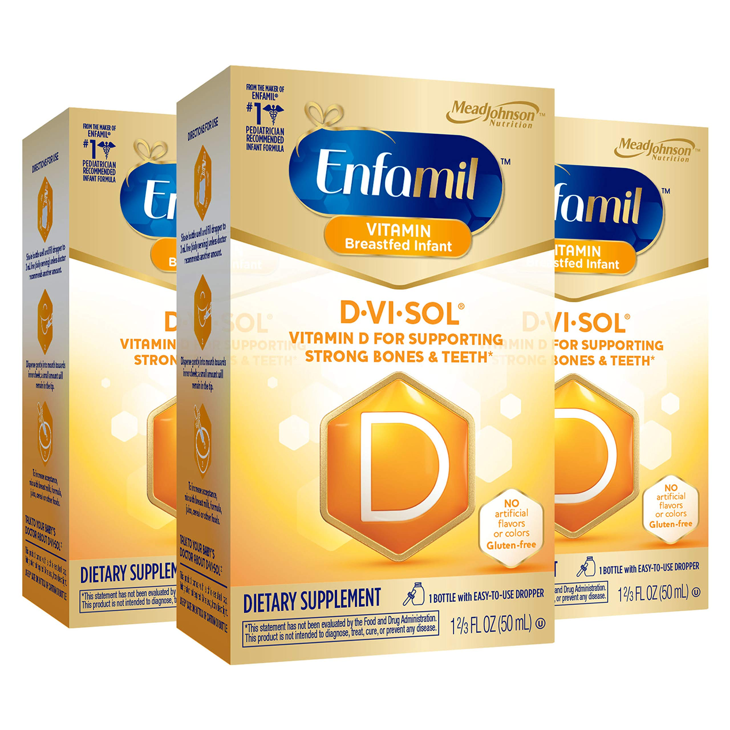 Enfamil D-Vi-Sol Vitamin D Supplement Drops 50 mL(Packs of 3)