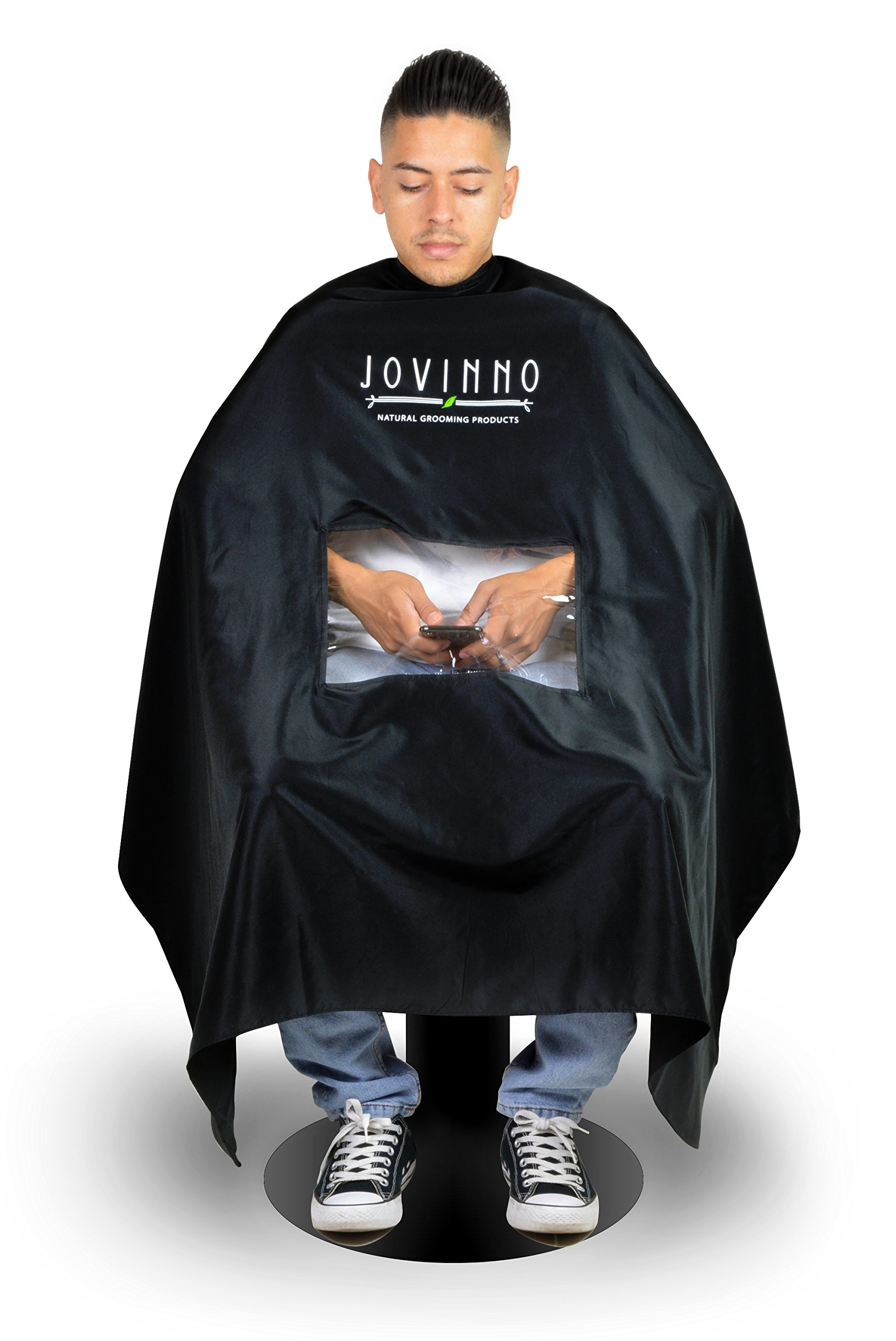 Jovinno - Large Size Professional Quality Hair Cutting Barber/Salon Cape Gown Apron With Mobile Phone Viewing Window, Metal Snap Neck Closure, Hanging Hook - Satisfy Your Customers by Jovinno