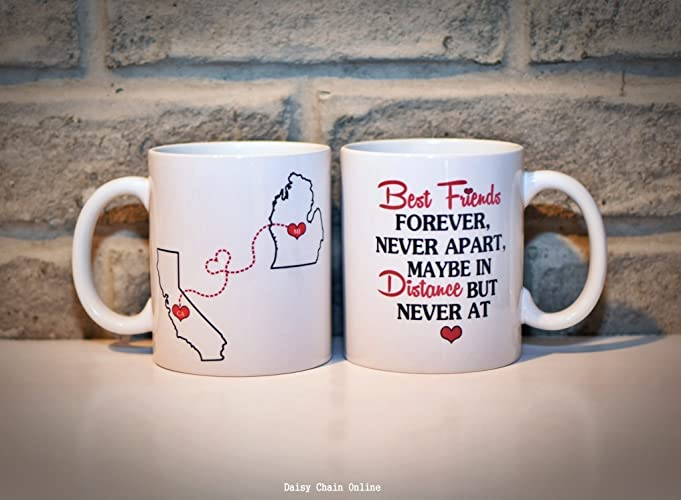 Amazoncom Long Distance Bff Mug States Mug Bff Coffee Mugs