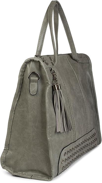 styleBREAKER sac cartable avec clous et pompons, sac shopper, sac à bandoulière, sac à main, sac, femme 02012136, couleur:Beige