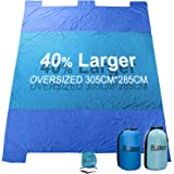 Beach Blanket Oversized, 10'x8' Sand Proof Beach Picnic Blanket Made of 100% Parachute Nylon Anchored with XL Sand Bags …