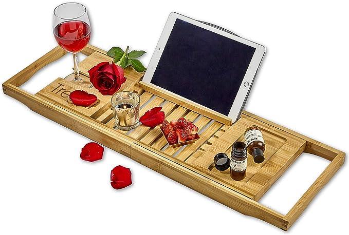 Sapele Wood Bathtub Tray Rack Bath Table,Multifunction Non-Slip Expandable Bathroom Caddy Tray with Book Wine Phone Holder