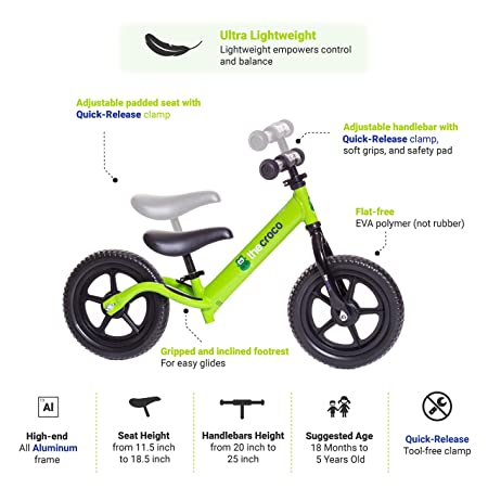 side facing the croco premium & ultra-light balance bike with explanation of how the balance bike works
