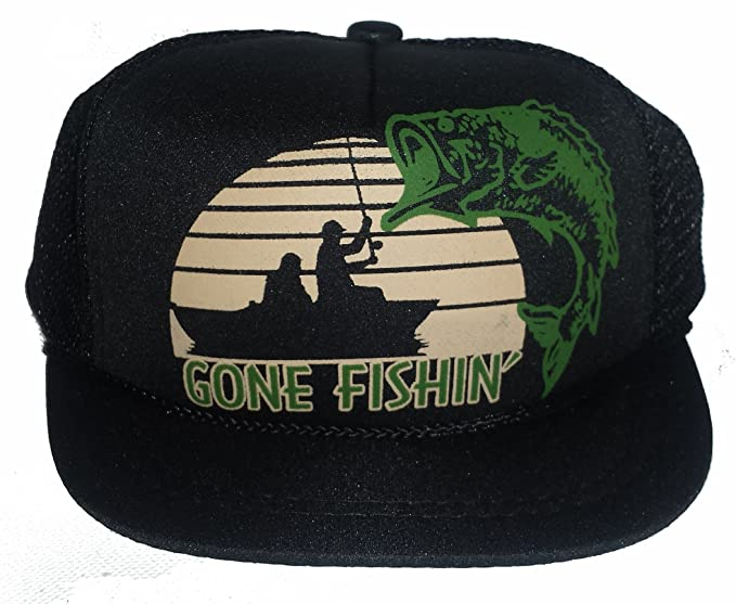 c1b9d39ae5c77 Image Unavailable. Image not available for. Color  Baby Infant Newborn  Black Gone Fishin  Mesh Trucker Hat Cap Snapback Fishing