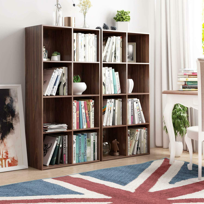 Best Design. Wood Bookcase 8-Cube Organizer Bookshelf Media Storage Cabinet Display Shelf by Best Design.