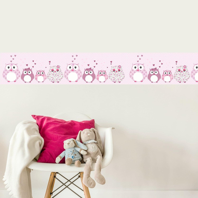 Livingstyle /& Wanddesign Vlies Bord/üre selbstklebend f/ürs Kinderzimmer Wandtattoo Patchworkeulen rosa