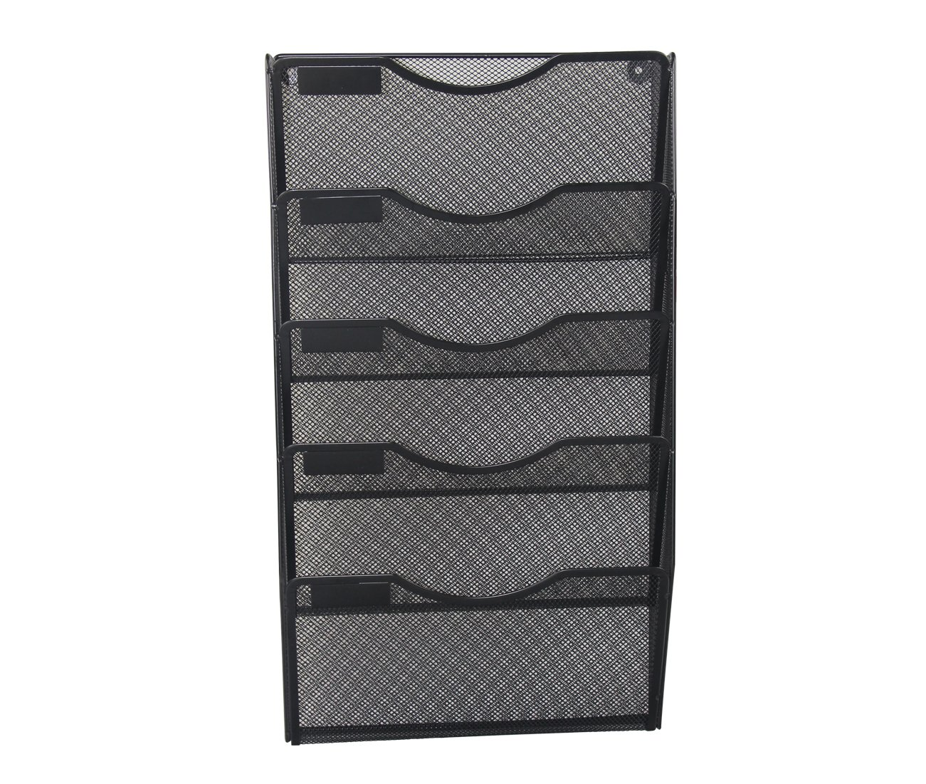 EasyPAG Office 5 Pockets Wall File Holder Organizer Hanging Metal Magazine Rack Black