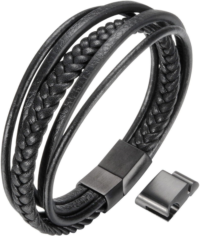 OSTAN Mens Bracelet Men`s Braided Leather Bracelet Multilayer Fashion Wrist Cuff Bangle Black -