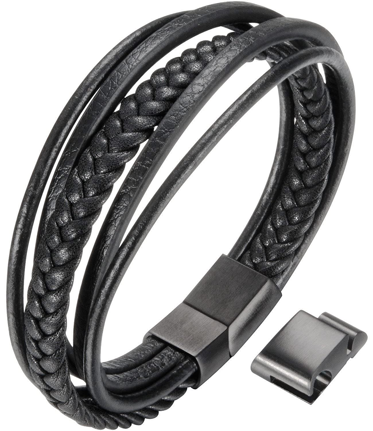 OSTAN Mens Bracelet Men`s Braided Leather Bracelet Multilayer Fashion Wrist Cuff Bangle Black - OTSUS297