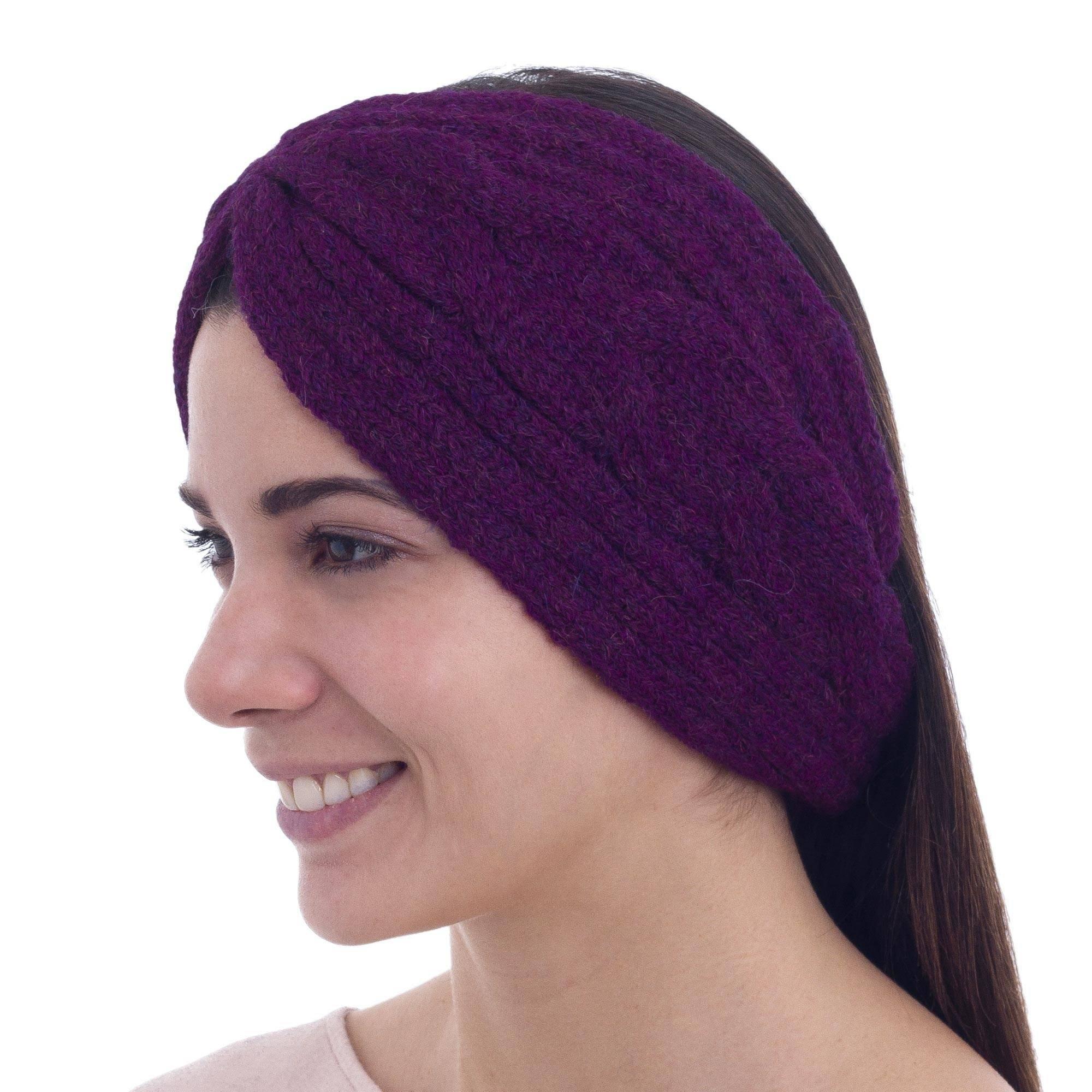 NOVICA Purple Alpaca Blend Ear Warmer, 'Infinite Spirit in Boysenberry' Product Details