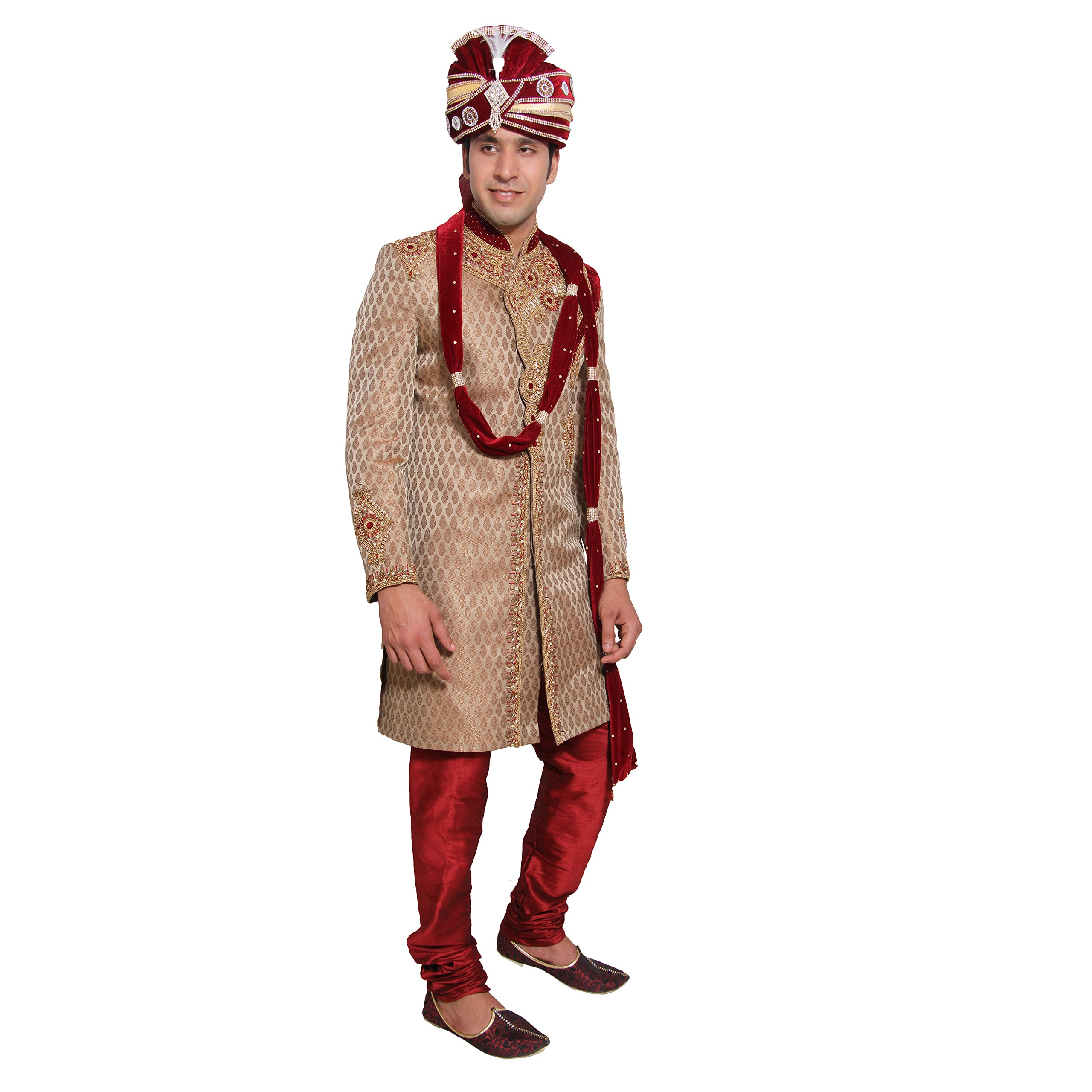 Indian Wedding Kurta Pajama Sherwani for Men Banarasi Silk Maroon Kurta Set by Favoroski (Image #3)