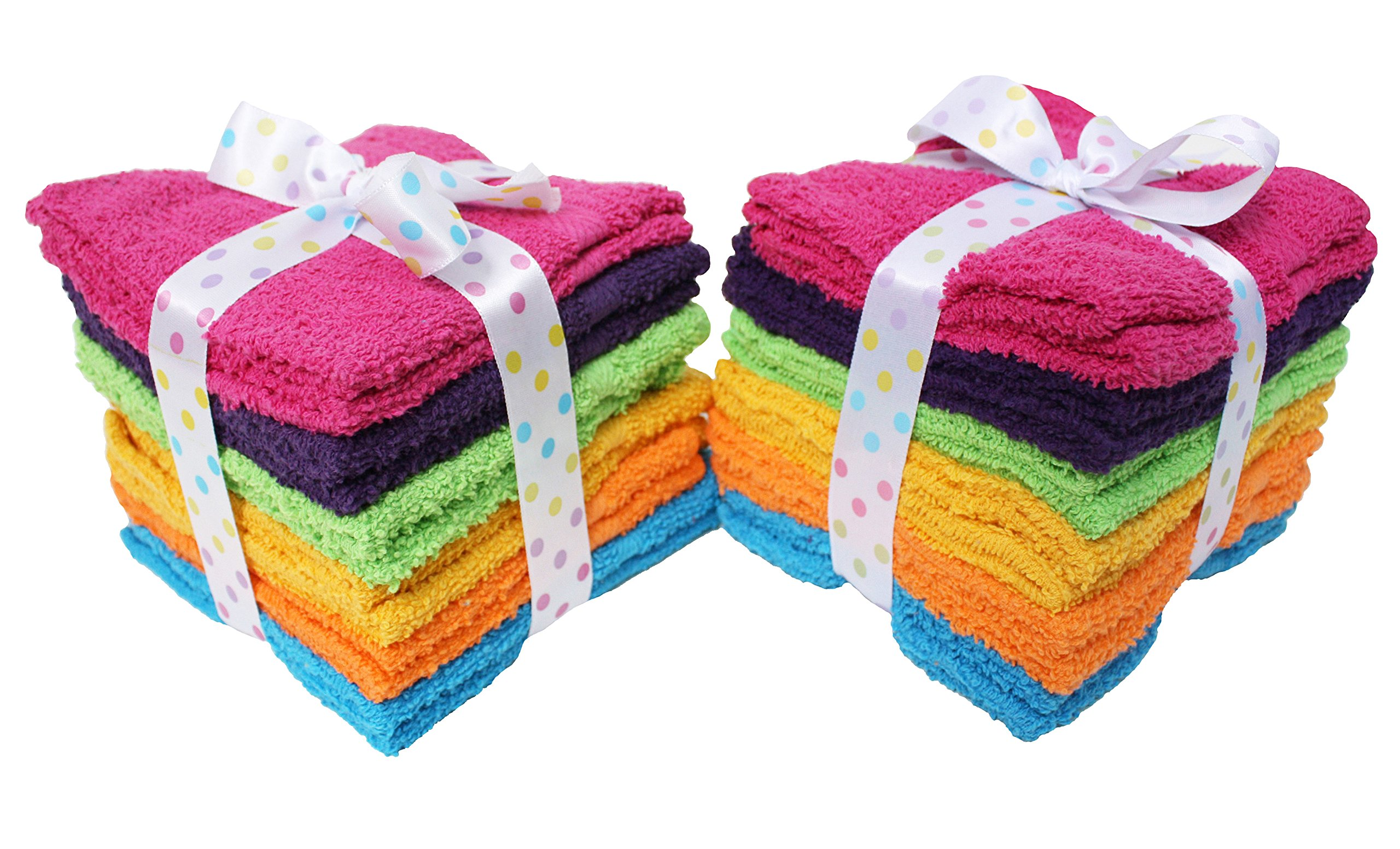 J&M Home Fashions Premium 24-Piece Bulk Pack Cotton Washcloth Set, 12x12, Hotel & Spa Quality, Super Soft and Ultra Absorbent Face Towels for Bathroom & Washroom-Bright Rainbow