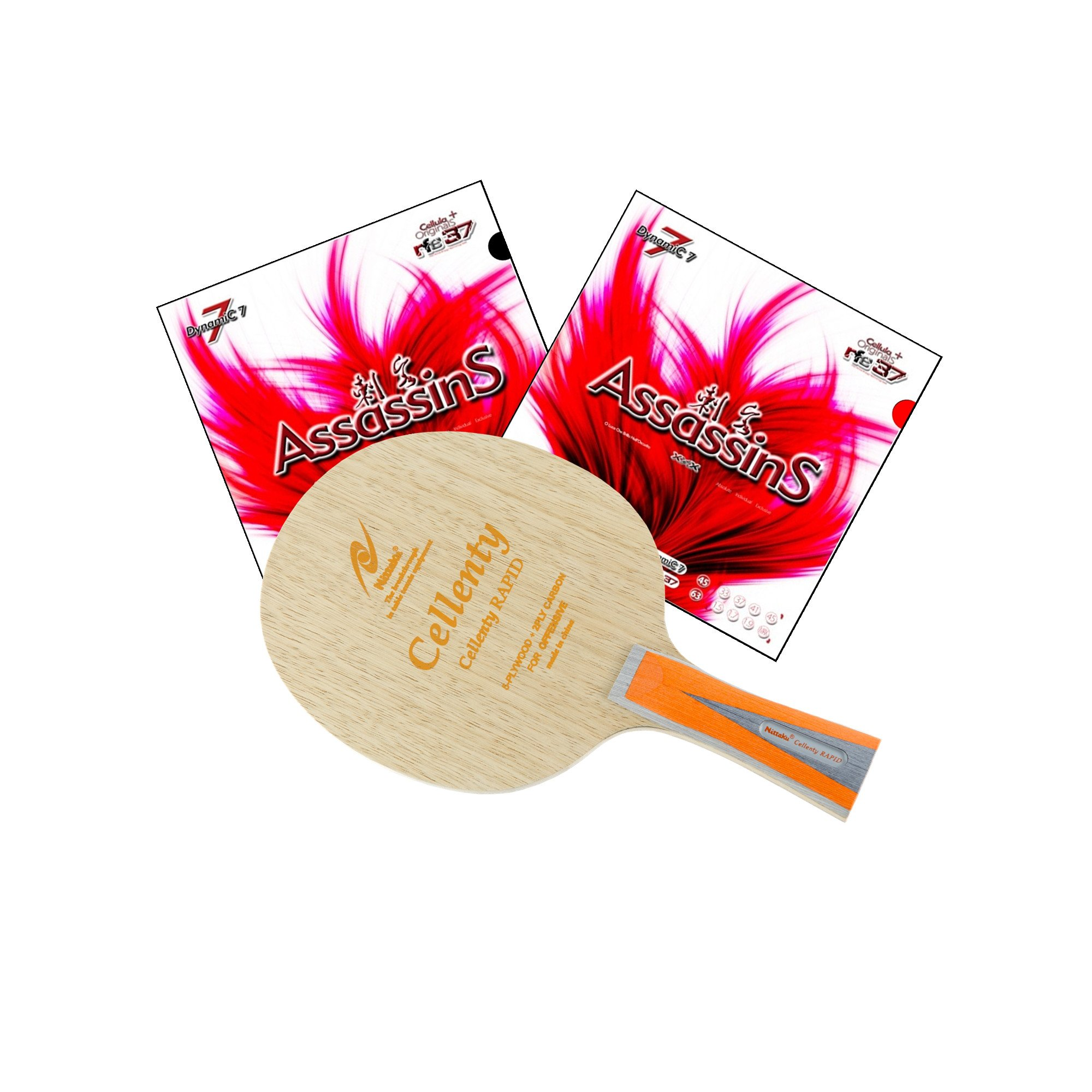 Nittaku Cellenty Rapid Carbon FL + Air Assassins Table Tennis Racket