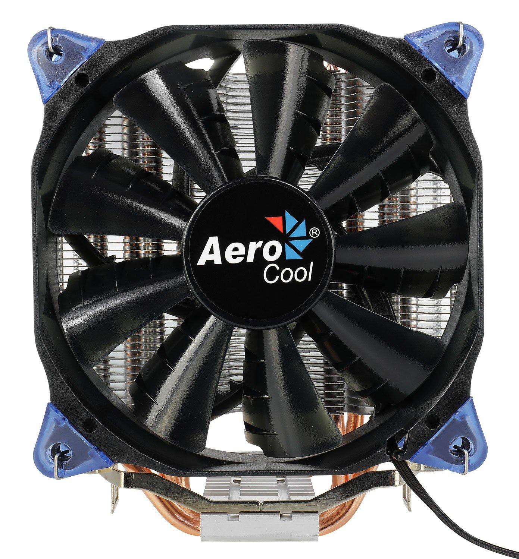 Aerocool VERKHO Plus - Disipador Gaming para Ordenador (Ventilador 120 mm, compatibilidad Universal AMD e Intel, tecnologí a PWM 4-Pin, Base Aluminio), Color Negro tecnología PWM 4-Pin VERKHOPLUS