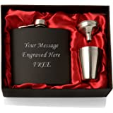 Engraved Hip Flask Gift Set, Black 6oz, with 4 Cups and Funnel in Red Satin Lined Gift Box. Personalised.