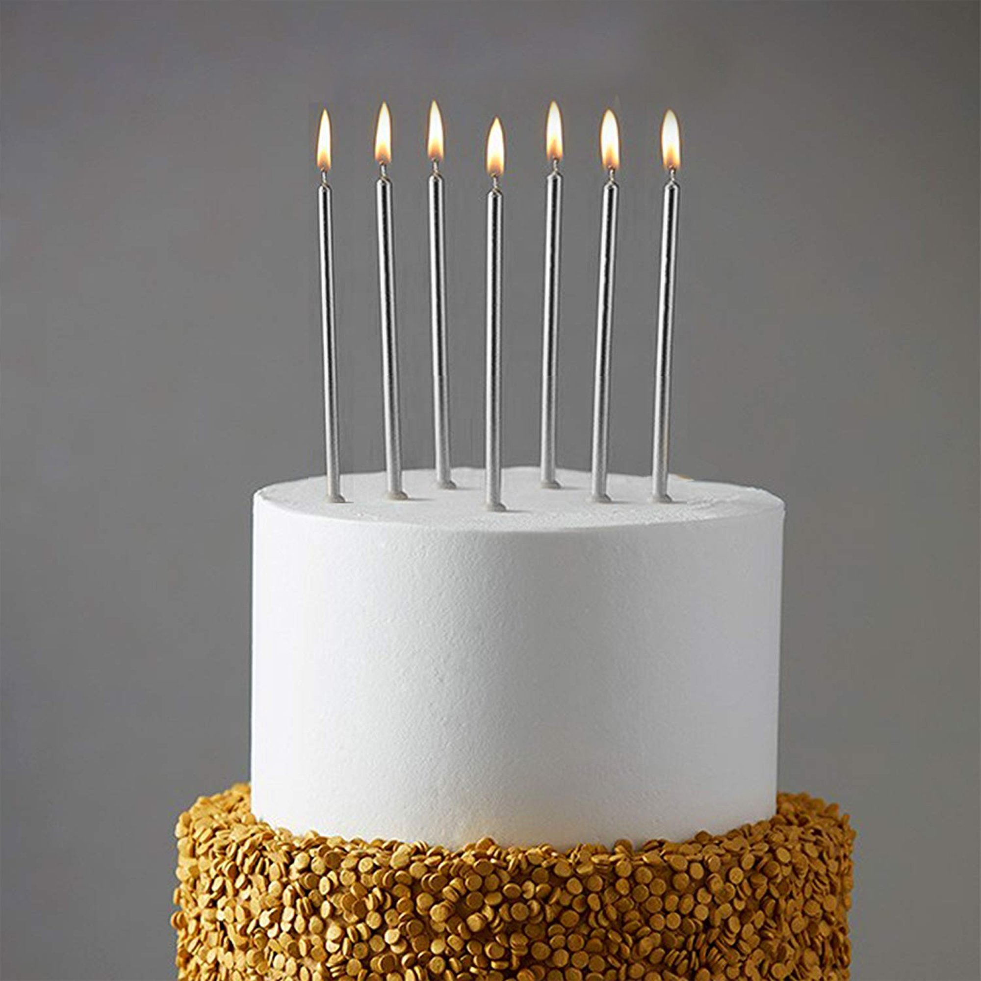 WEEPA 24 Count Party Long Thin Cake Candles Metallic Birthday Candles in Holders for Birthday Cakes Decorations, Silver