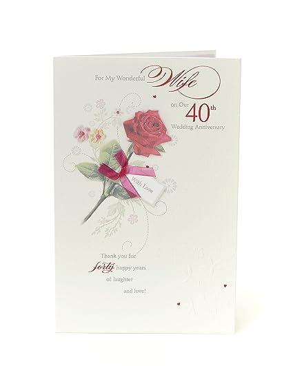 Tarjeta de felicitación de 40 aniversario de boda con diseño ...