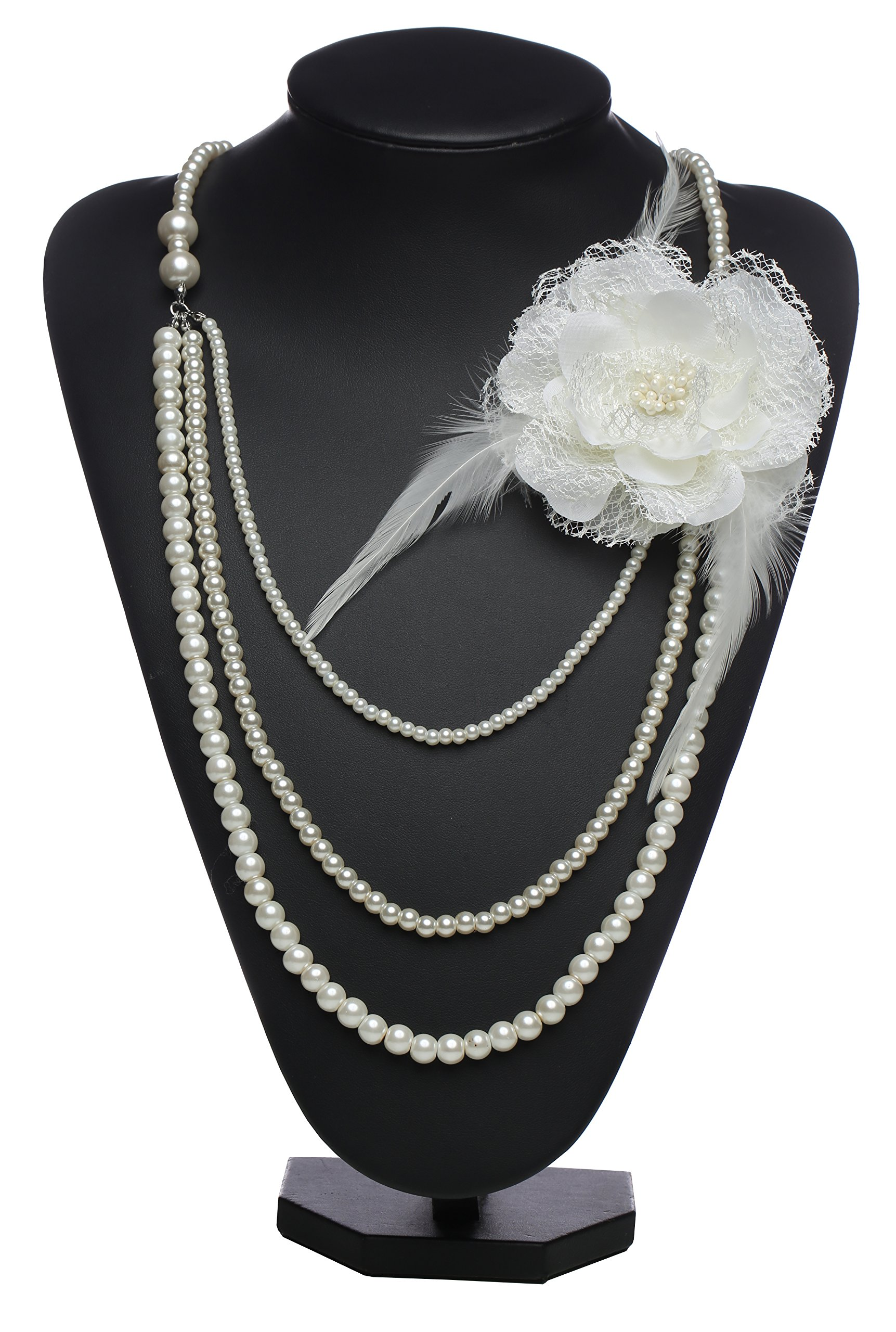 BABEYOND Vintage 1920s Gatsby Multi-Layer Imitation Pearl Choker Necklace with Lace Flower Brooch (Beige Flower)